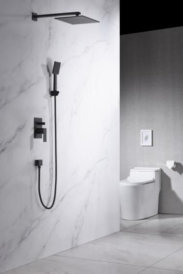 Zestaw prysznicowy podtynkowy z deszczownicą i prysznicem <br/> TOR-ZKP.150 CZARNY MAT
